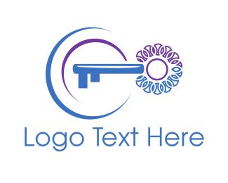 Locked - Blue Key logo design
