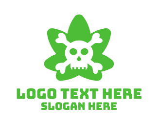 Vice - Green Cannabis Skull logo design