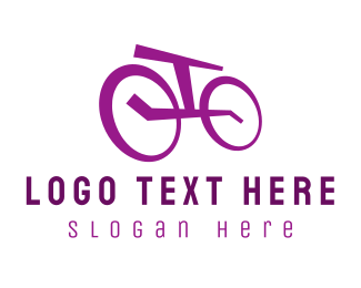 Cyclist - Purple Bicycle logo design