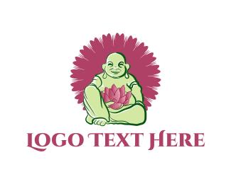 Buddhism - Green Buddha logo design