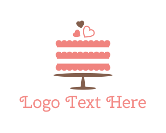 Bake - Pink Wedding Cake logo design
