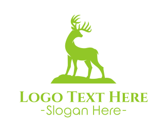 Deer - Green Wild Deer  logo design