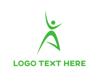 Healthy - Green Person logo design