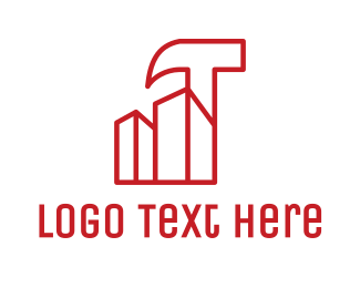 Masonry - Hammer Building Outline logo design