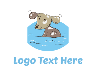 Doggie - Bathing Dog Cartoon logo design