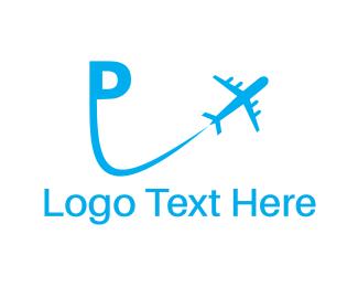 Jet - Plane Letter P logo design