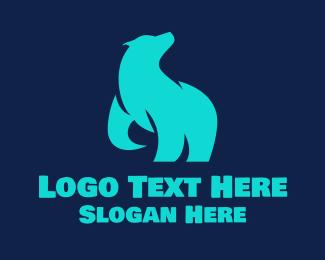 Grizzly - Cyan Polar Bear logo design