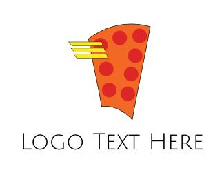 Fast Food - Flying Pizza logo design