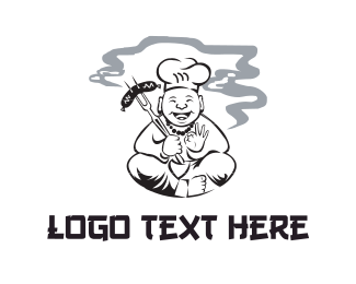 Chinese - Smoking Chef logo design