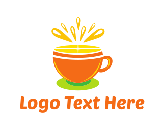 Lemonade - Orange Tea Cup logo design
