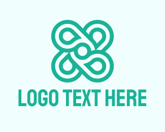 Four Leaf Clover - Mint Flower logo design