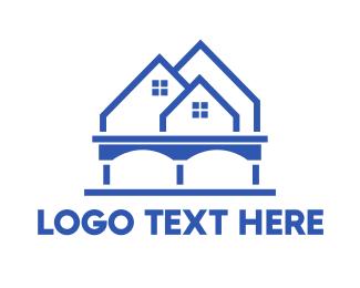 Mansion - Blue Tall House logo design