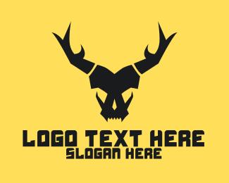 Demon - Horned Angry Skull  logo design