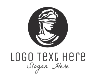 Hand-drawn - Blindfolded Woman logo design