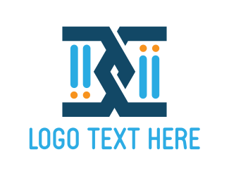 Genetics - Blue Chromosome logo design