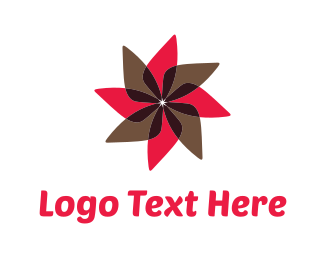 Daisy - Red & Brown Flower logo design