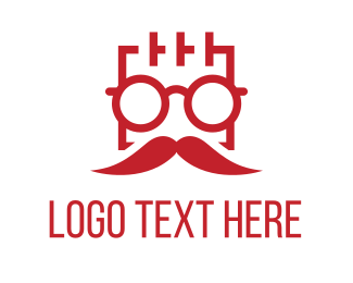 Square Man Moustache Logo