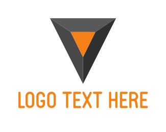 Letter V - Black & Orange Diamond logo design