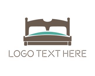 Bedroom - Wooden Bed logo design