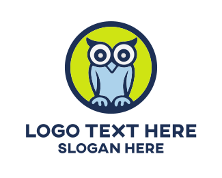 Wise - Cute Blue Owl Cartoon logo design