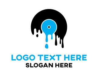 Hip Hop - Blue Melting Record logo design