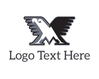 Hunting - Eagle M logo design