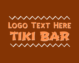 Brown And White - Tiki Bar logo design