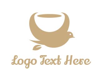 Latte - Gold Coffee Bird logo design