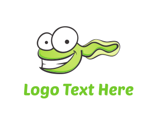 Tadpole - Green Tadpole Cartoon logo design