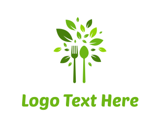 Dinner - Green Cutlery logo design