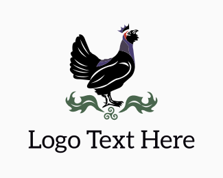 Black Rooster King logo design