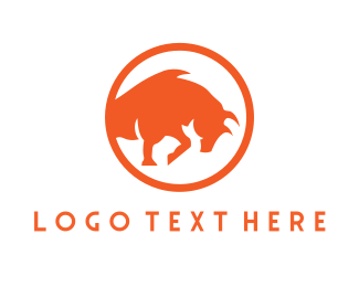 Ranch - Orange Bull Circle logo design