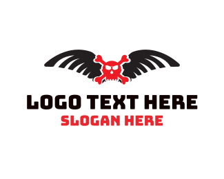 Horror - Winged Red Skull logo design