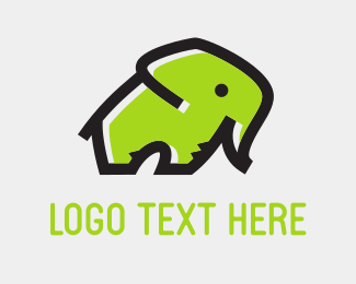Africa - Green Elephant logo design