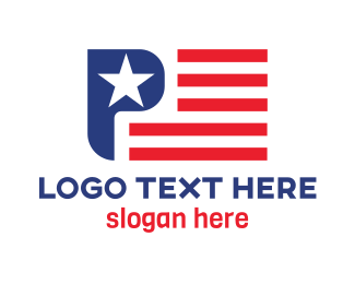 Veteran - USA Flag P logo design