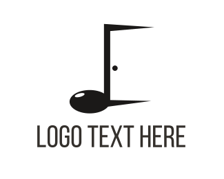 Open - Music Door logo design