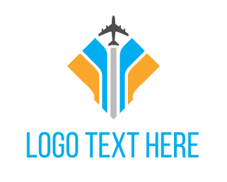 Drone - Plane Blue Yellow logo design