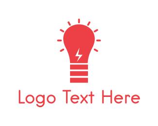 Led - Red Bulb logo design