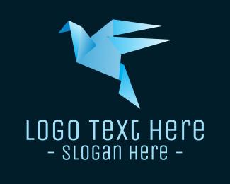 Folding - Origami Blue Bird logo design