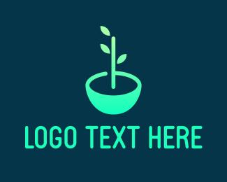 Pot - Leaf Pot logo design