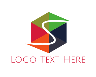 Hexagon - Letter S Cube logo design