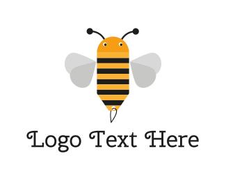 Baby - Cute Bee Tag logo design