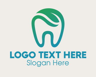 Orthodontic - Green Leaf Tooth logo design