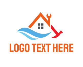 Carpenter - House Tool Wave logo design