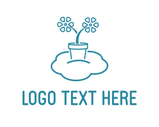 Pot - Flying Flower Pot logo design