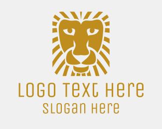 """Golden Square Lion"" by LogoBrainstorm"