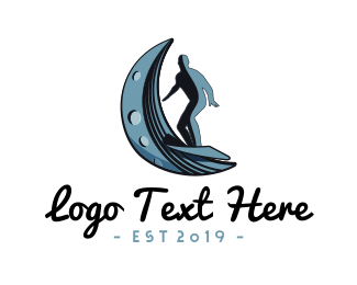 Surfer - Surf Moon Wave logo design