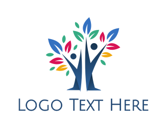 Early Learning Center - Colorful Leaf Couple Tree logo design
