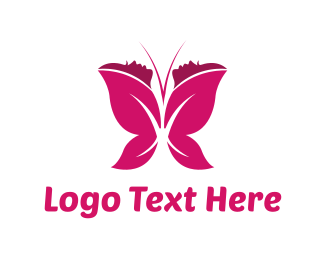 Girl - Women Butterfly  logo design