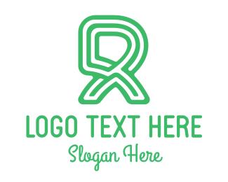 Striped - Green Letter R logo design